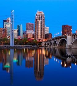 Downtown Minneapolis at sunrise